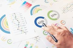 Рука бизнесмена работая на деревянном столе в офисе и там много документов, диаграммы Можно отнесите к финансовым статьям Стоковая Фотография RF