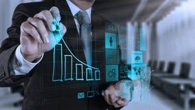 Рука бизнесмена работая с новым современным компьютером и делом s Стоковые Фотографии RF