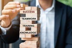 Рука бизнесмена устанавливая или вытягивая деревянный блок на башне с текстом; Успех, сыгранность, тренировка и знание Дело стоковая фотография rf