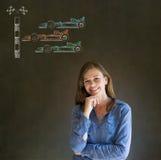 Рука бизнес-леди, студента или учителя на вентиляторе гоночного автомобиля формулы 1 подбородка на предпосылке классн классного Стоковые Фото