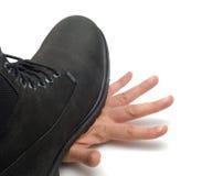 рука ботинка стоковая фотография