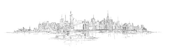Рука вектора рисуя панорамный силуэт Нью-Йорка Стоковое Изображение RF