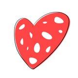 Рука вектора тонет сердце на белой предпосылке Стоковое Фото