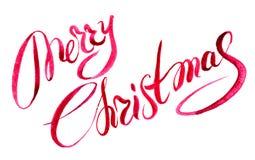 Рука веселого рождества покрасила голубую литерность акварели стоковая фотография rf