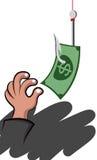Рука выбирая деньги иллюстрация вектора
