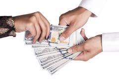 Рука вытягивает вне доллар Стоковые Изображения RF