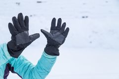 Рука в жесте 10 перчатки зимы Стоковое Изображение RF