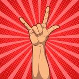 Рука в знаке крена n утеса, иллюстрации искусства шипучки Стоковая Фотография