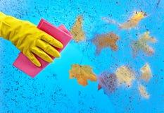 Рука в резиновом окне чистки перчатки на предпосылке голубого неба Стоковое Изображение