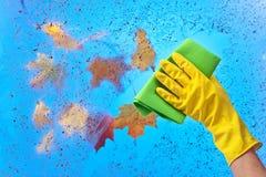 Рука в резиновом окне чистки перчатки на предпосылке голубого неба Стоковое Изображение RF