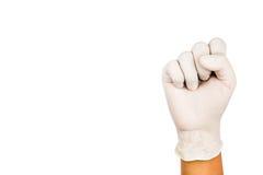 Рука в хирургическом жесте 10 перчатки латекса Стоковые Изображения