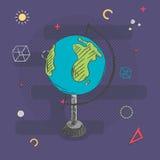 Рука глобуса нарисованная на предпосылке с абстрактной школой поет также вектор иллюстрации притяжки corel Стоковая Фотография RF