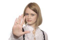 рука девушки ткани дела выдвинутая Стоковая Фотография RF