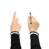 рука дела указывая сочинительство Стоковые Изображения RF