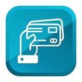 Рука держа значок кредитных карточек Голубая кнопка r иллюстрация штока