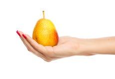 рука держа людской желтый цвет груши Стоковая Фотография RF