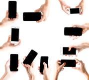 Рука держа экран умного телефона пустой Рука женщины держа smartp стоковые фотографии rf