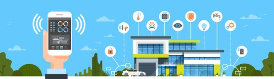 Рука держа Smartphone с знаменем умной домашней концепции автоматизации дома интерфейса контроля системы современной горизонтальн иллюстрация штока