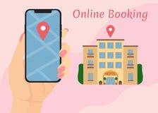 Рука держит телефон записывая гостиничные номера онлайн иллюстрация штока