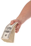 рука доллара кредиток держит 100 пакетов Стоковое фото RF