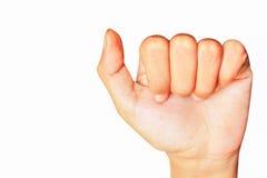 Рука девочка-подростка держа настоящий момент дела изолированный на белом bac Стоковые Фотографии RF