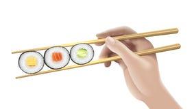 рука еды предпосылки bamboo держа японские суши салфетки традиционными Иллюстрация искусства зажима вектора Стоковое фото RF