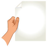 Рука держа бумагу Стоковое Изображение RF