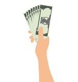 Рука держа деньги изолированный на белой предпосылке Стоковые Изображения