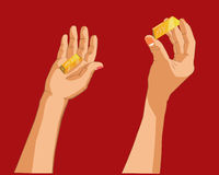 Рука держа золото Стоковое фото RF