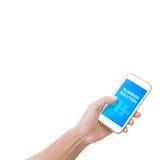 Рука держа мобильный телефон с словом решения дела Стоковые Изображения RF