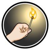 Рука держа освещенный Matchstick Стоковые Изображения