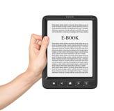 Рука держа доску на читателе eBook Стоковая Фотография RF