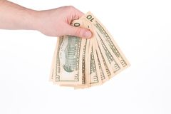 Рука держа долларовые банкноты Стоковая Фотография RF