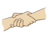 Рука 2 держа один другого с сильным сжатием Стоковые Фото