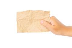 рука держа пустое примечание стоковое изображение rf