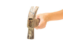 Рука держа старый молоток Стоковое Изображение