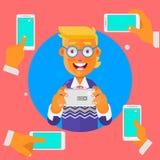 Рука держа телефон усмехаться бизнесмена также вектор иллюстрации притяжки corel Стоковая Фотография RF