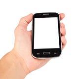 Рука держа умный телефон стоковая фотография rf