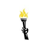 Рука держа факел иллюстрация штока