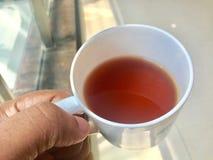 Рука держа черный чай в чашке стоковые изображения rf