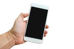 Рука держа Smartphone на белой предпосылке Стоковая Фотография