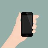 Рука держа smartphone на предпосылке также вектор иллюстрации притяжки corel Стоковое Изображение RF
