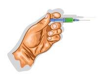 Рука держит шприц с вакциной иллюстрация штока