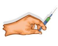 Рука держит шприц с вакциной бесплатная иллюстрация