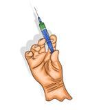 Рука держит шприц с вакциной иллюстрация вектора