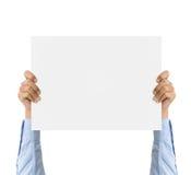 Рука дела держа доску банка изолированный на белой белизне Стоковые Изображения RF