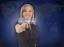 Рука женщины дела нажимая кнопку разрешения на экране касания внутри Стоковое Изображение