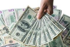 Рука женщины держа деньги, концепцию взяточничества Стоковые Изображения RF