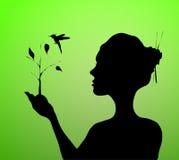 Рука женщины держа и засаживая дерево с птицей Стоковые Фото