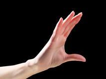 Рука женщины держа или измеряя что-то жест На черноте с Стоковые Фото